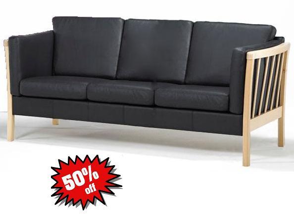 Forskellige Sofa 3 pers | klassisk tremme sofa | okselæder | webshop Ran-Play A/S SO53