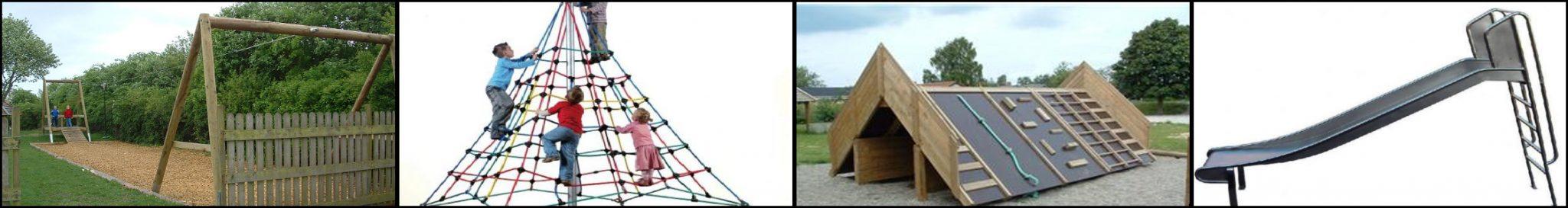 klatresystemer, svævebaner og rutchebaner