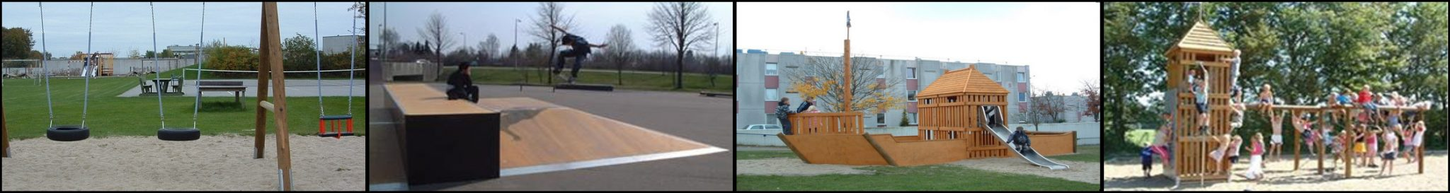legepladser og skateboard