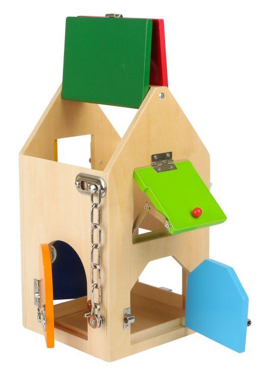 Lockhouse, låsehus, 15x15x28, fra 3 år, træ og metal, 1 del1 udvikling og hjernetræning, låsehus.
