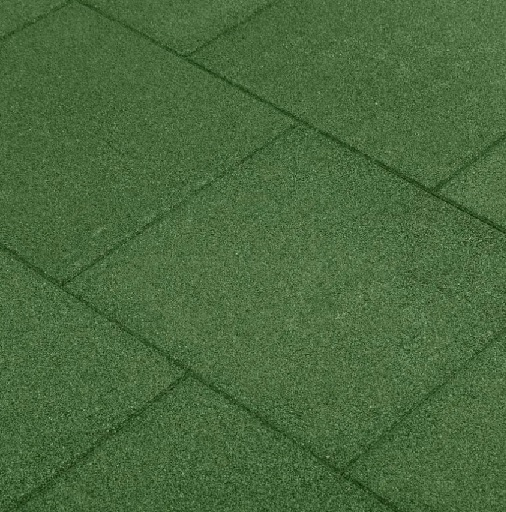 Grønne gummifliser på 50x50x4,5 centimeter. Faldmåtter. tillader et fald på 1,85 meter. Faldtestet og yderst godkendt.